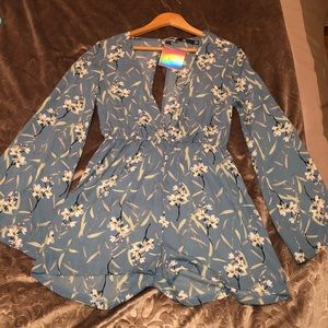 Blue floral long sleeve romper, ASOS Size US 6